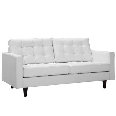 Empire Bonded Leather Loveseat / Black or White