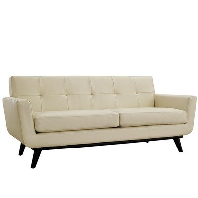 Montgomery Bonded Leather Loveseat | Black, Beige | Tan