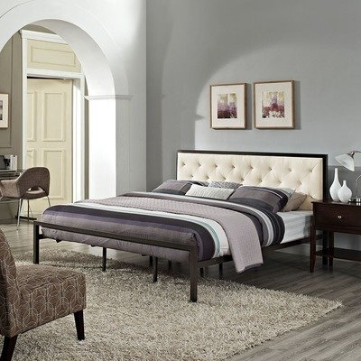 Madeline King Platform Bed | Gray or White