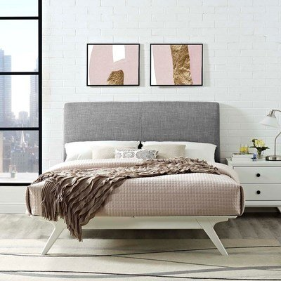 Julie King Platform Bed in White/Grey
