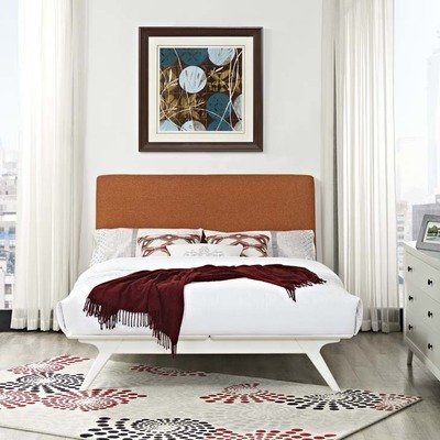 Julie Queen Platform Bed |  White Frame | 6 Colors