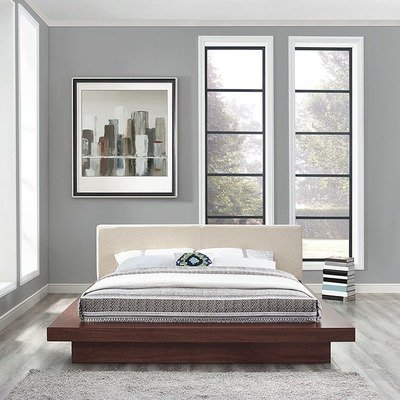Halsted Platform Queen Bed in Walnut Frame