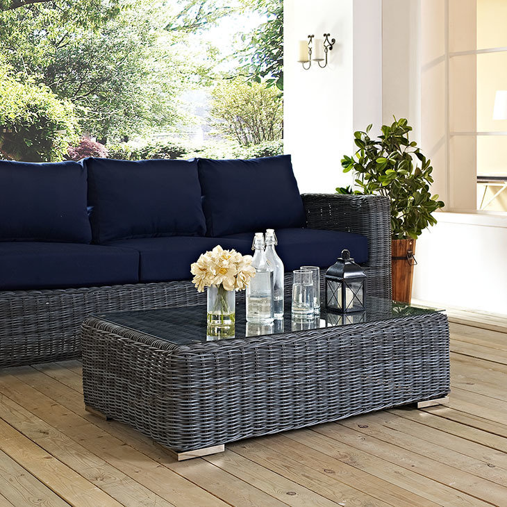 North Avenue Patio Coffee Table with Glass Top