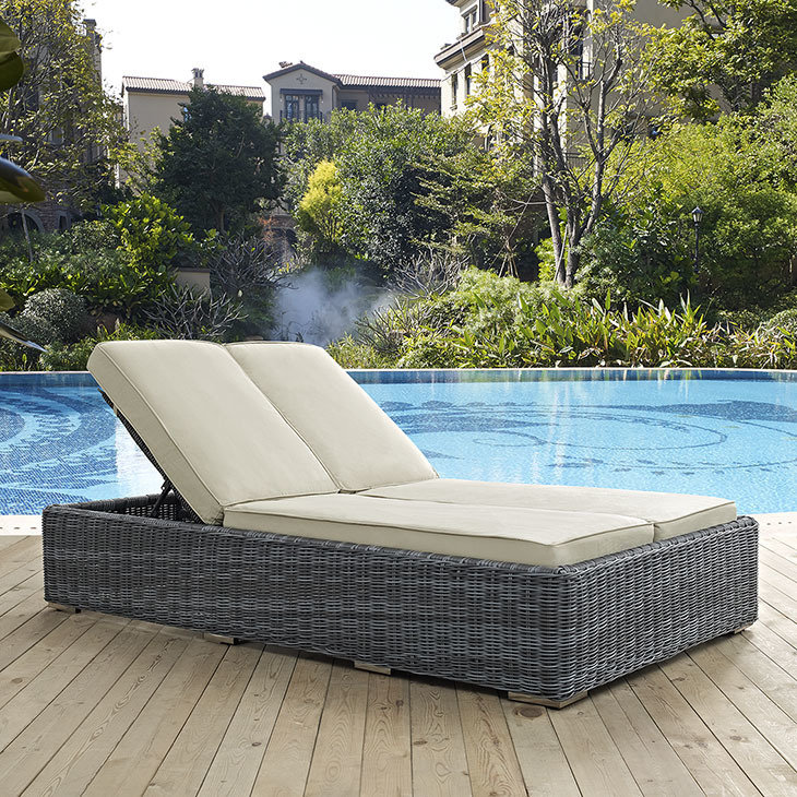 North Avenue Patio Double Chaise Lounge with Sunbrella® Cushion