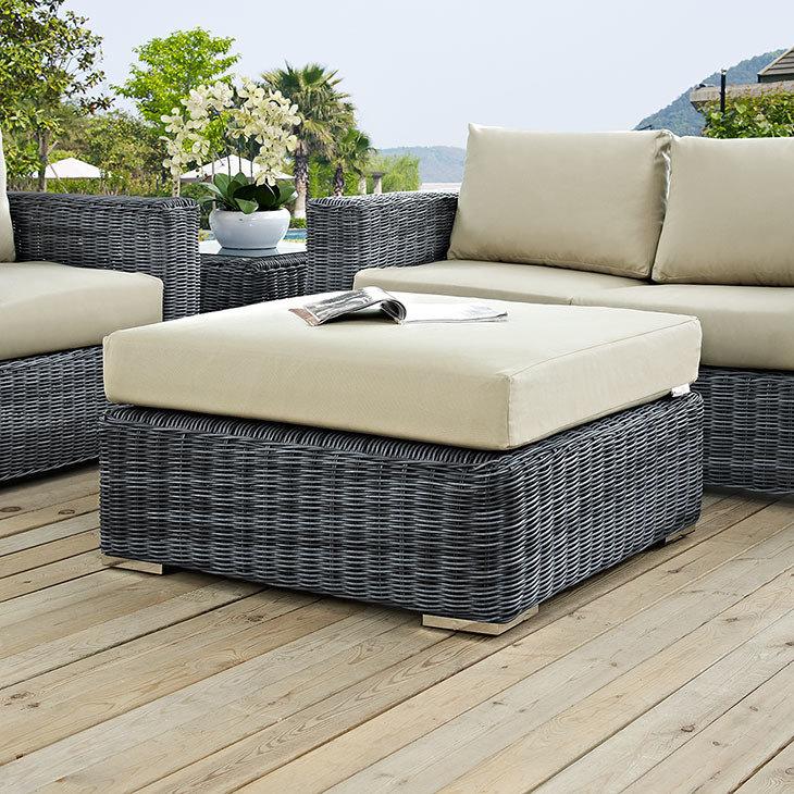 North Avenue Patio Square Ottoman with Sunbrella® Cushion