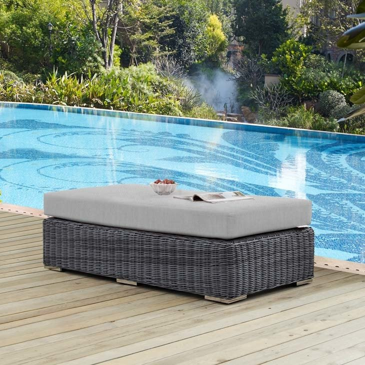 North Avenue Patio Rectangle Ottoman with Sunbrella® Cushion