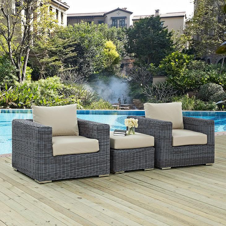 North Avenue Patio 3 Piece Conversation Set  with Sunbrella® Cushion