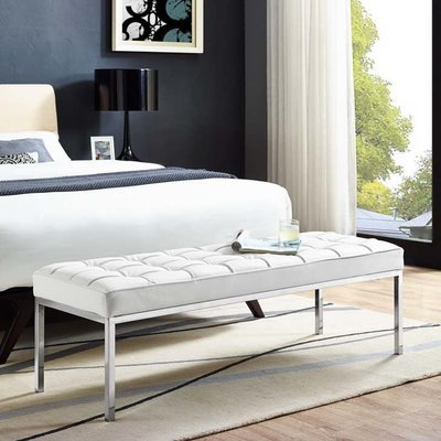 Printers Row Leather Bench /  Black or White