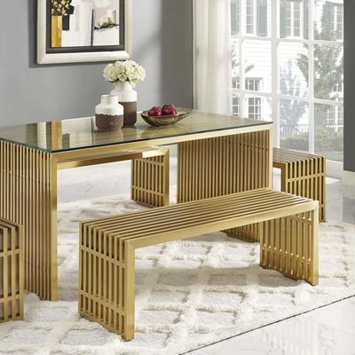 Gaines Medium Stainless Steel Gold Bench