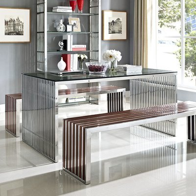 Gaines Stainless Steel Dining Table