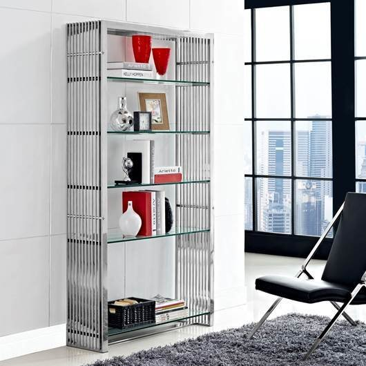 The Gaines Bookshelf is the perfect modern home furnishing to store your extensive home library. The glass shelves and metal bar frame give it a contemporary yet industrial look.