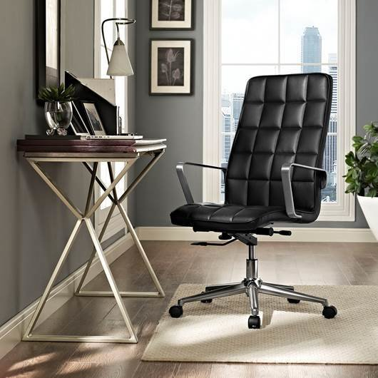 The Turbo Highback Office Chair is one of Chicago Living's modern home furnishings that also offers ergonomic support. Adjust the tilt and height, and swivel a full 360 degrees to make your chair more comfortable to work from.