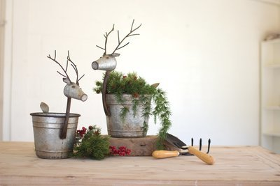Metal Deer Planters / Set of 2