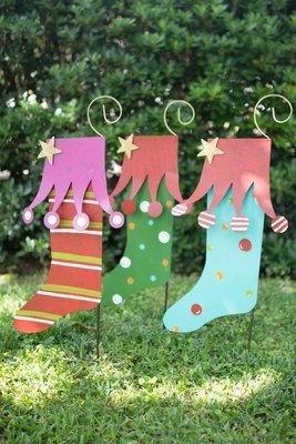 Christmas Stockings Yard Art /  Set of 3