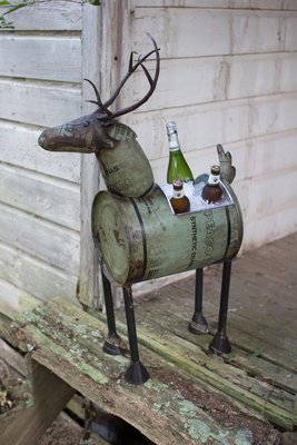 Reclaimed Metal Deer | Wine Cooler or Planter