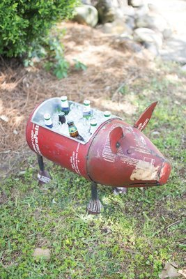 Reclaimed Iron Pig / Wine Cooler or Planter