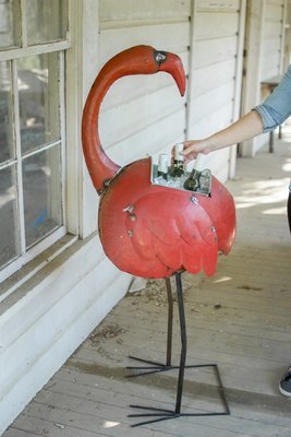 Reclaimed Iron Flamingo / Wine Cooler or Planter