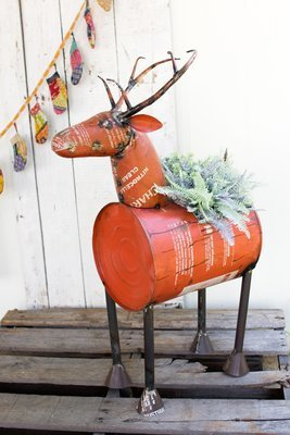 Reclaimed Red Metal Deer | Wine Cooler or Planter