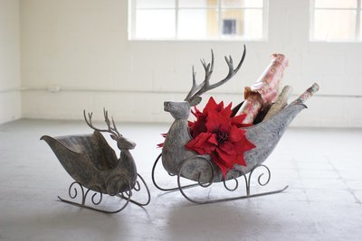 Aged Grey Metal Deer Sleigh | Pair