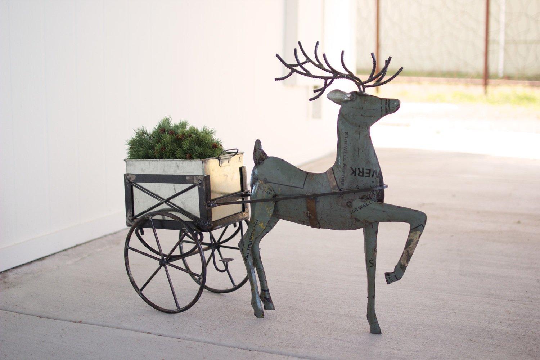 Recycled Metal Deer with Drink Tub Cart