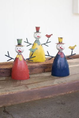 Recycled Metal Snowmen / Set of 3