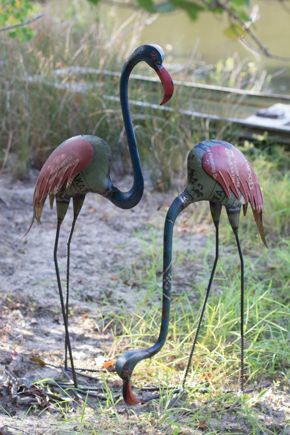 Recycled Metal Flamingos / Set of 2