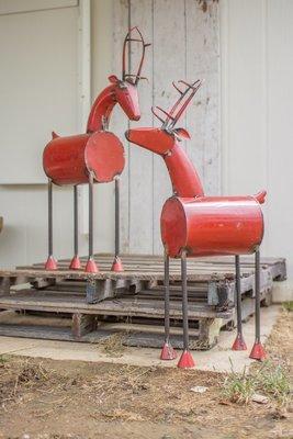 Recycled Red Metal Reindeer / Set of 2
