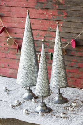 Zinc Topiaries with Beaded Brass Detail  | Set of 3