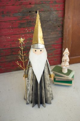 Santa Claus with Gold Hat and Tree