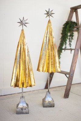 Folded Gold Metal Trees with Silver Star / Set of 2