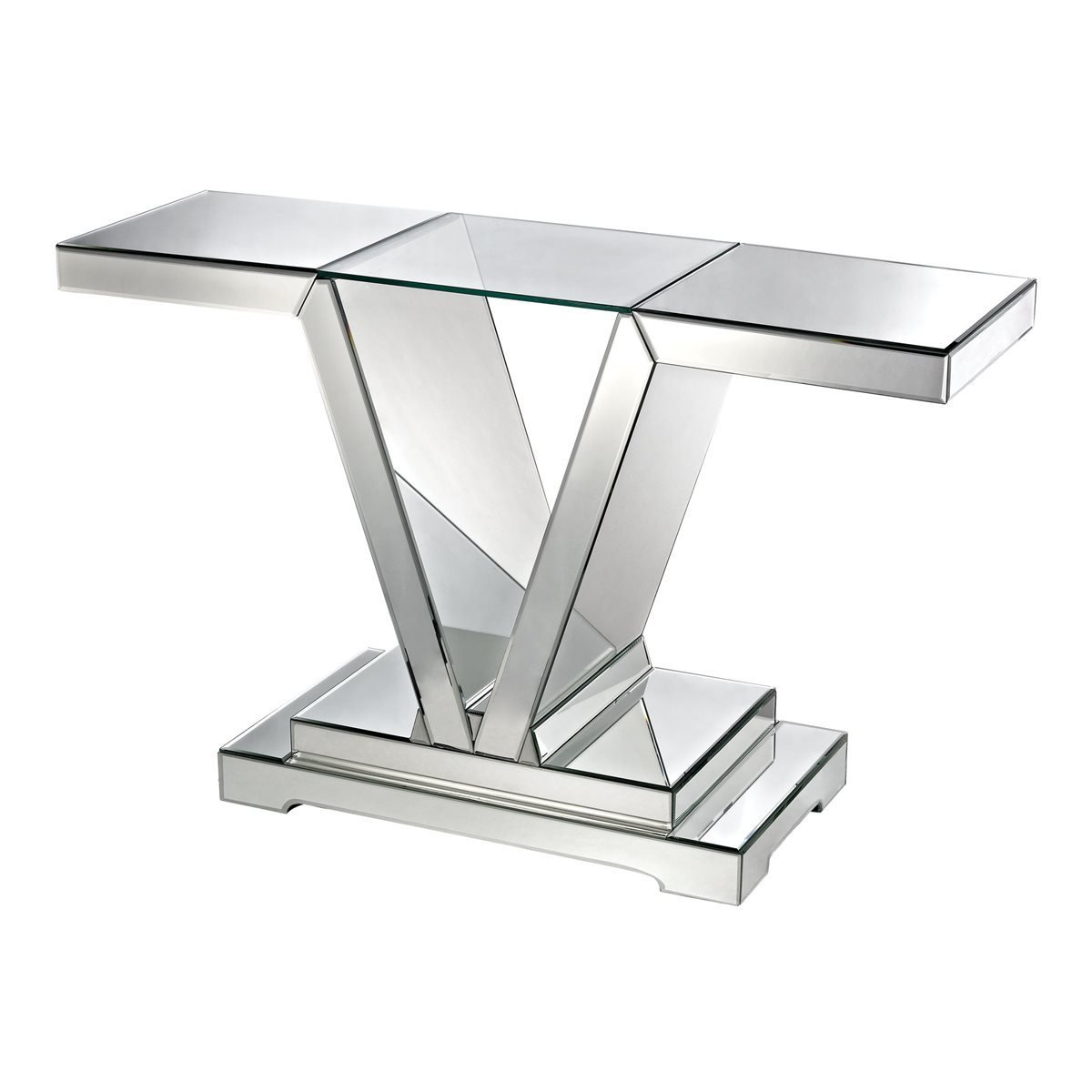 Mirrored Console Table with Glass Top