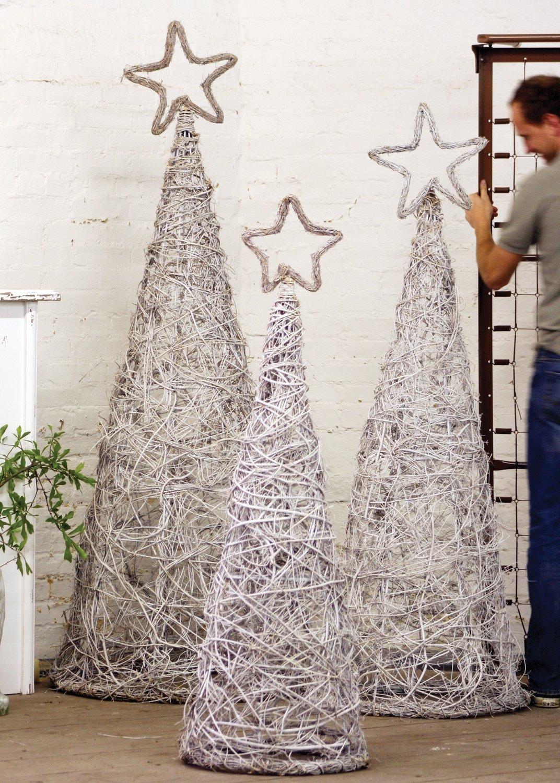 Giant Whitewash Iron Twig Topiaries with Finials / Set of 3