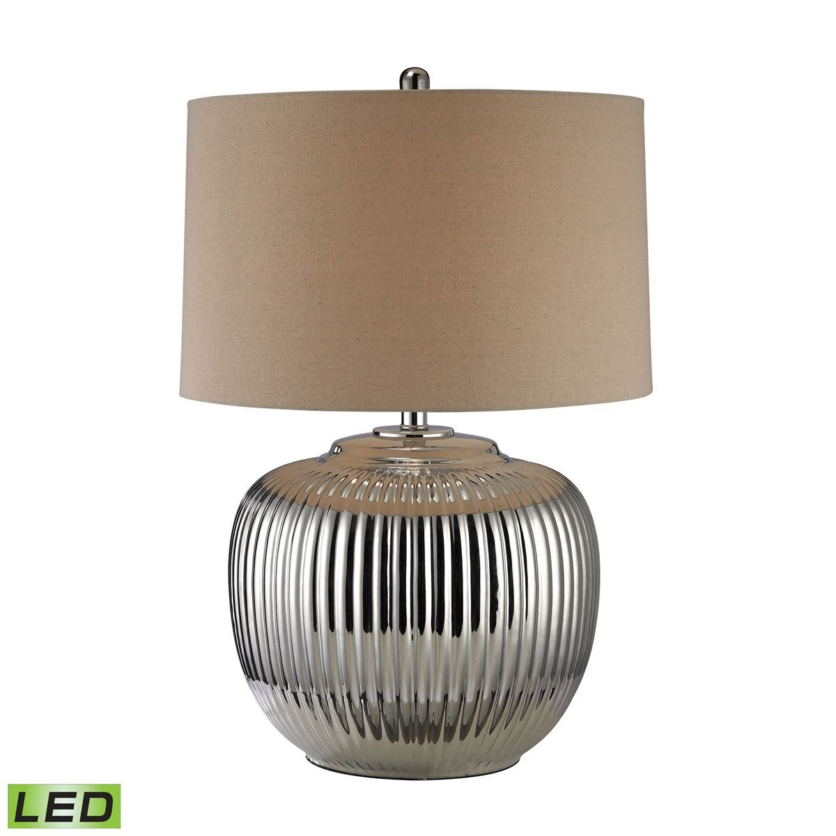 Ribbed Oversized Table Lamp - Silver