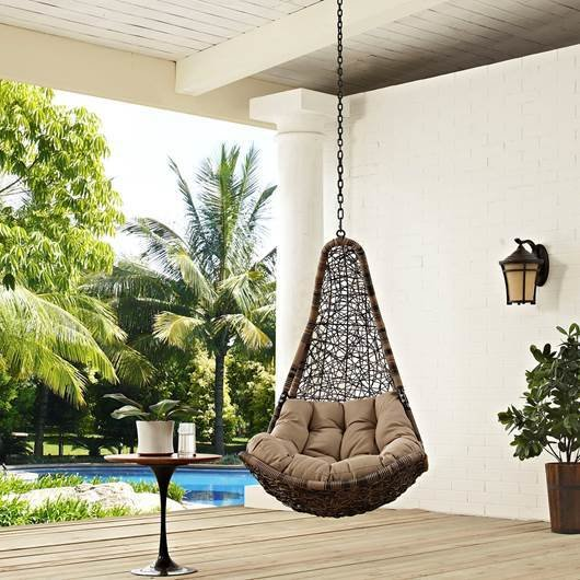 Hanging Resolve Swing Lounge Chair / Bronze-Black with Mocha Cushion