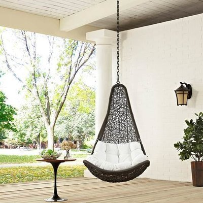 Hanging Resolve Swing Lounge Chair | Bronze | White Cushion