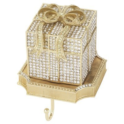 Olivia Riegel Clear Crystal Pave Gift Box Stocking Holder