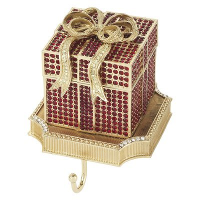 Olivia Riegel Red Crystal Pave Gift Box Stocking Holder