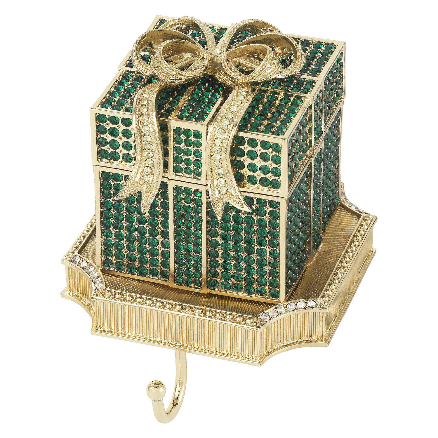 Olivia Riegel Green Crystal Pave Gift Box Stocking Holder