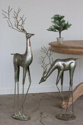 Metal Deer / Antique Silver / Set of 2