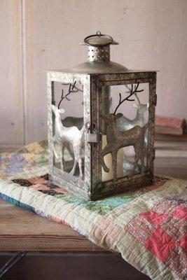 Galvanized Reindeer Lantern
