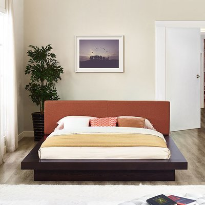 Halsted Platform Queen Bed in Mocha Frame | 5 Colors