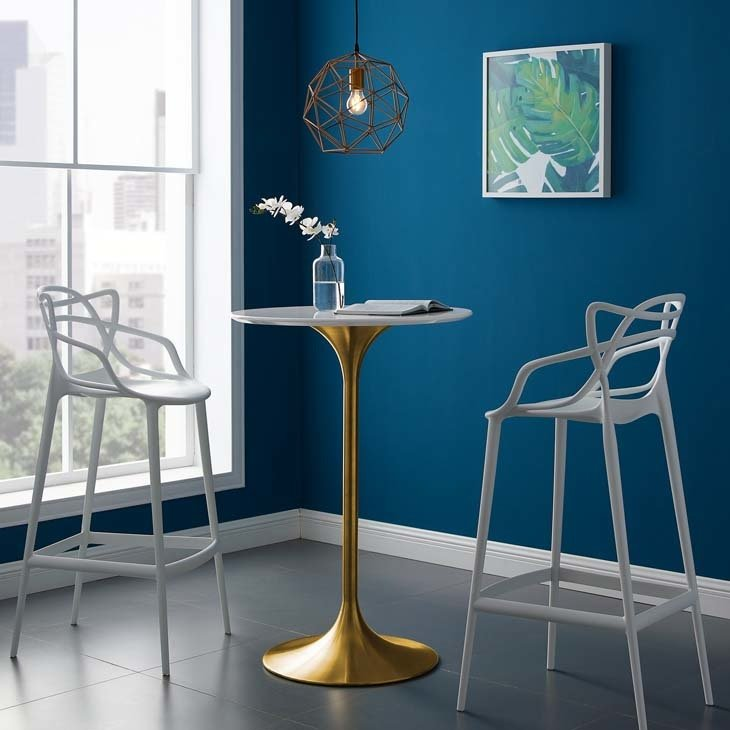 """Lila 28"""" Round Bar Table with Gold Base"""
