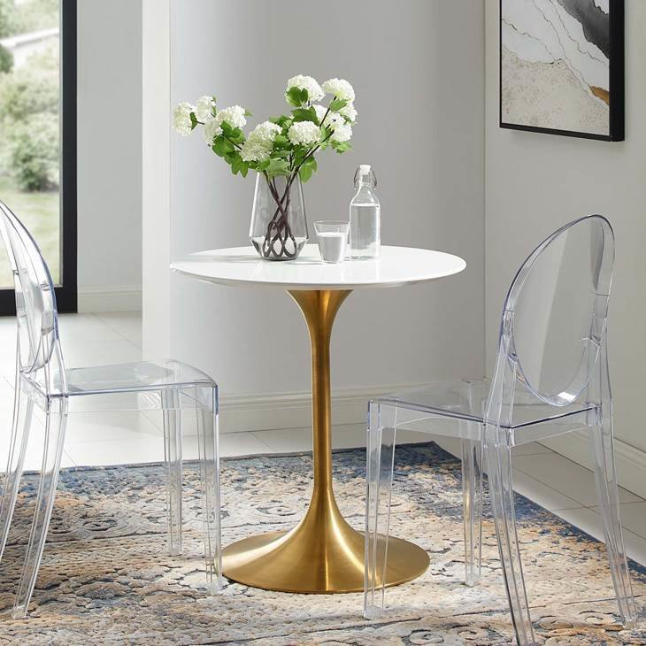 "Lila 28"" Round Dining Table with Gold Base"