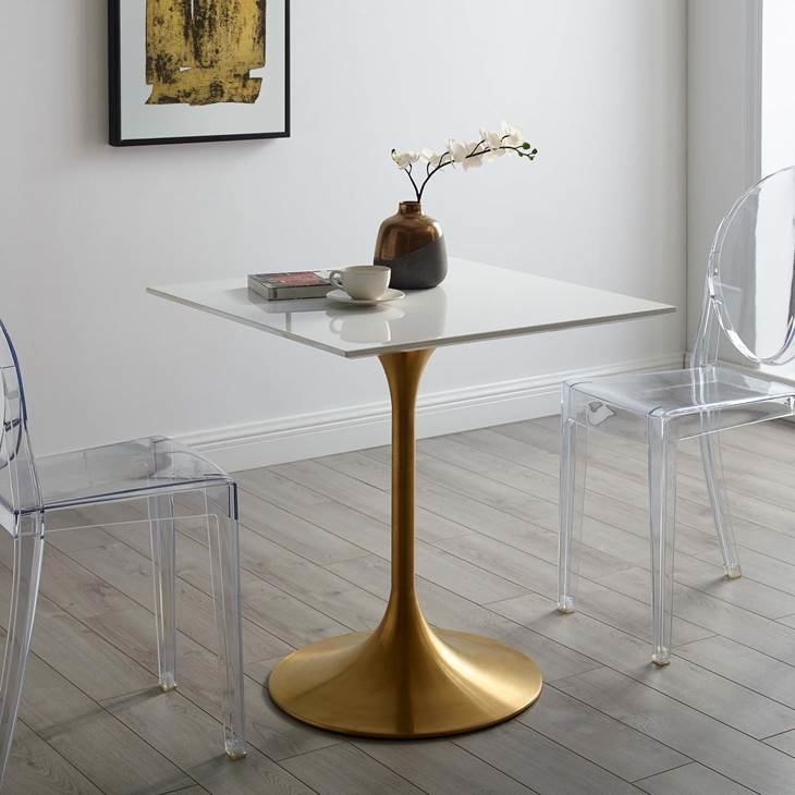 "Lila 28"" Square Dining Table with Gold Base"