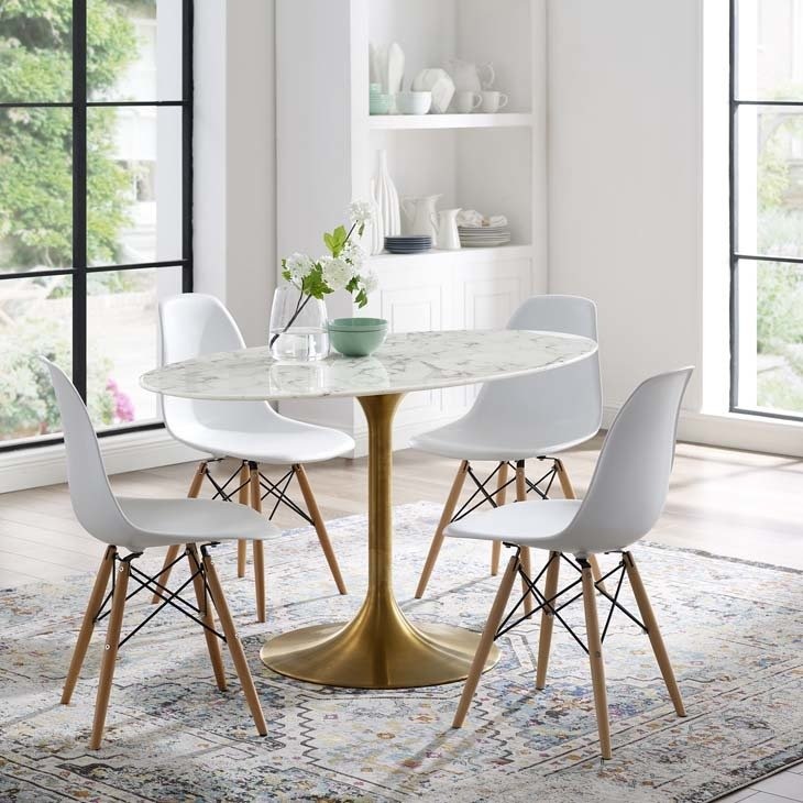 """Lila 54"""" Oval  Dining Table with Gold Base"""