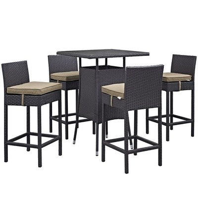Hinsdale Patio 5 Piece Square Pub Set | 7 Color Options