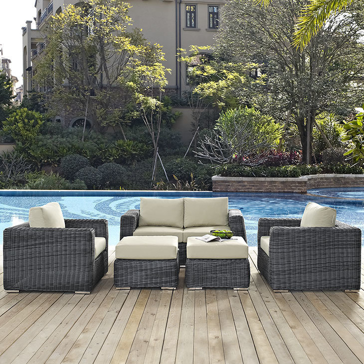 For intimate movie-watching groups, stick to the basics with this 5-piece North Avenue Conversation Set from Chicago Living. This pool and patio furniture will make your backyard movie night extra comfortable.