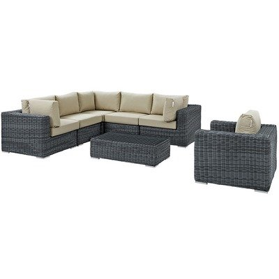 North Avenue Patio 7 Piece Conversation Set with Sunbrella® Cushion