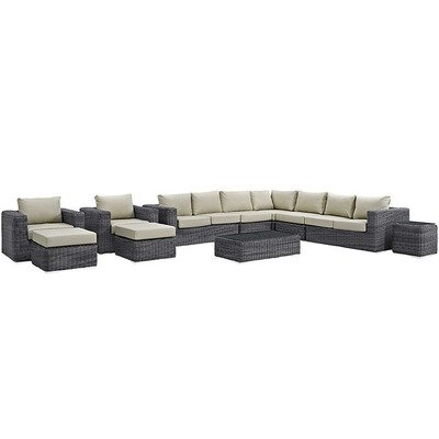 North Avenue Patio 11 Piece Sectional Set | with Sunbrella® Cushion