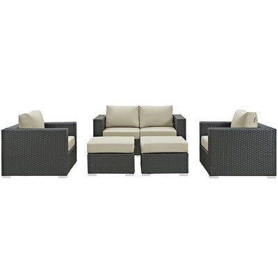 Soho Patio 5 Piece Conversation Set with Sunbrella® Cushion